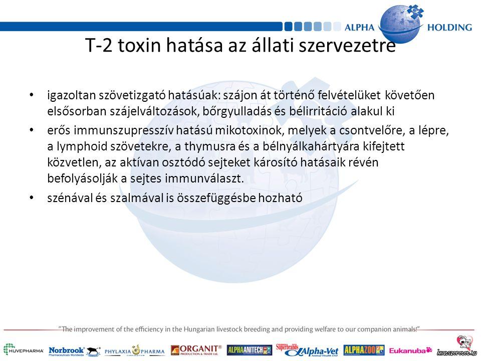 T-2 toxin hatása az állati szervezetre igazoltan szövetizgató hatásúak: szájon át történő felvételüket követően elsősorban szájelváltozások, bőrgyulladás és bélirritáció alakul ki erős immunszupresszív hatású mikotoxinok, melyek a csontvelőre, a lépre, a lymphoid szövetekre, a thymusra és a bélnyálkahártyára kifejtett közvetlen, az aktívan osztódó sejteket károsító hatásaik révén befolyásolják a sejtes immunválaszt.