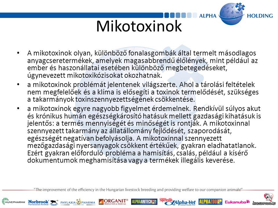 Mikotoxinok A mikotoxinok olyan, különböző fonalasgombák által termelt másodlagos anyagcseretermékek, amelyek magasabbrendű élőlények, mint például az ember és haszonállatai esetében különböző megbetegedéseket, úgynevezett mikotoxikózisokat okozhatnak.