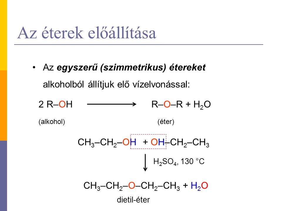 Az éterek előállítása Az egyszerű (szimmetrikus) étereket alkoholból állítjuk elő vízelvonással: 2 R–OHR–O–R + H 2 O (alkohol)(éter) CH 3 –CH 2 –OH CH 3 –CH 2 –O–CH 2 –CH 3 + H 2 O + OH–CH 2 –CH 3 H 2 SO 4, 130 °C dietil-éter