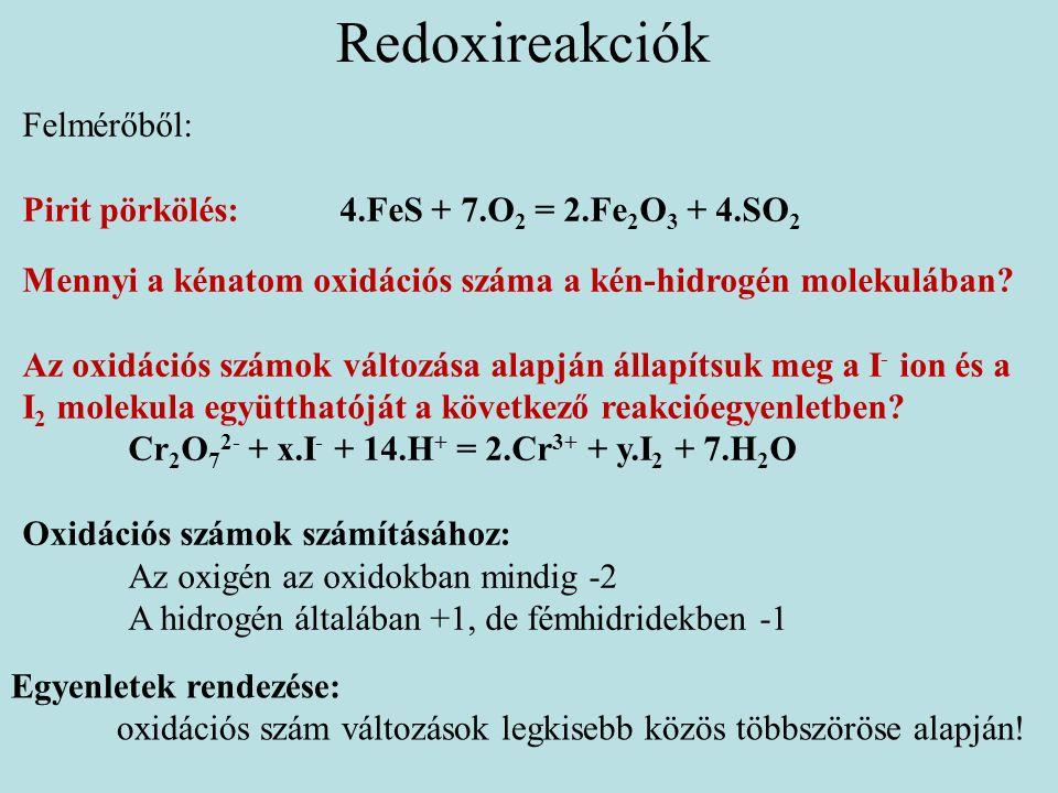 Redoxireakciók Egyenletek rendezése: oxidációs szám változások legkisebb közös többszöröse alapján.