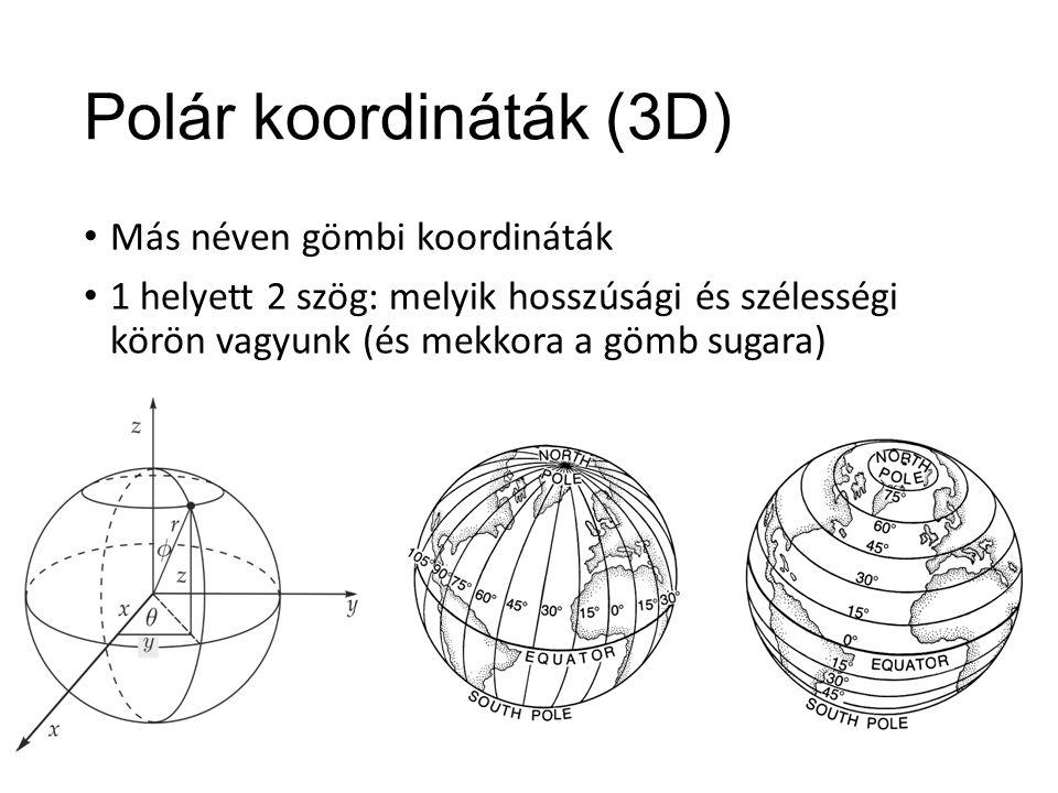 Polár koordináták (3D) Más néven gömbi koordináták 1 helyett 2 szög: melyik hosszúsági és szélességi körön vagyunk (és mekkora a gömb sugara)