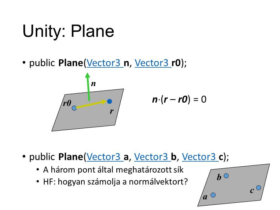 Unity: Plane public Plane(Vector3 n, Vector3 r0);Vector3 public Plane(Vector3 a, Vector3 b, Vector3 c);Vector3 A három pont által meghatározott sík HF: hogyan számolja a normálvektort.