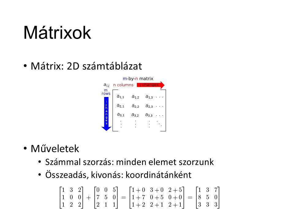Mátrixok Mátrix: 2D számtáblázat Műveletek Számmal szorzás: minden elemet szorzunk Összeadás, kivonás: koordinátánként