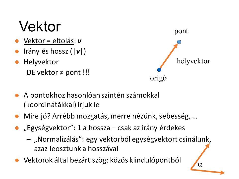 Érdekességképp a teljes mátrix (OpenGL): n: near plane, f: far plane, l: left, r: right, t: top, b: bottom (fov- ból számolhatók) Középpontos vetítés mátrixa (3D) 2n/(r-l)  0 0 0 0 2n/(t-b) 0 0 (r+l)/(r-l) (t+b)/(t-b) -(f+n)/(f-n) -1  -2fn/(f-n)  Skálázás: látószög normalizálása Nyírás: ha nem középen van az optikai tengely Középpontos vetítés A z koordináta nem a képsíkra vetül, hanem [-1,1]-be!