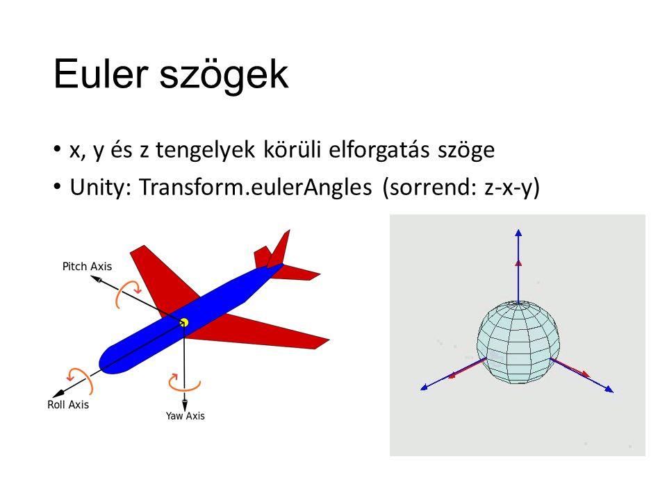 Euler szögek x, y és z tengelyek körüli elforgatás szöge Unity: Transform.eulerAngles (sorrend: z-x-y)
