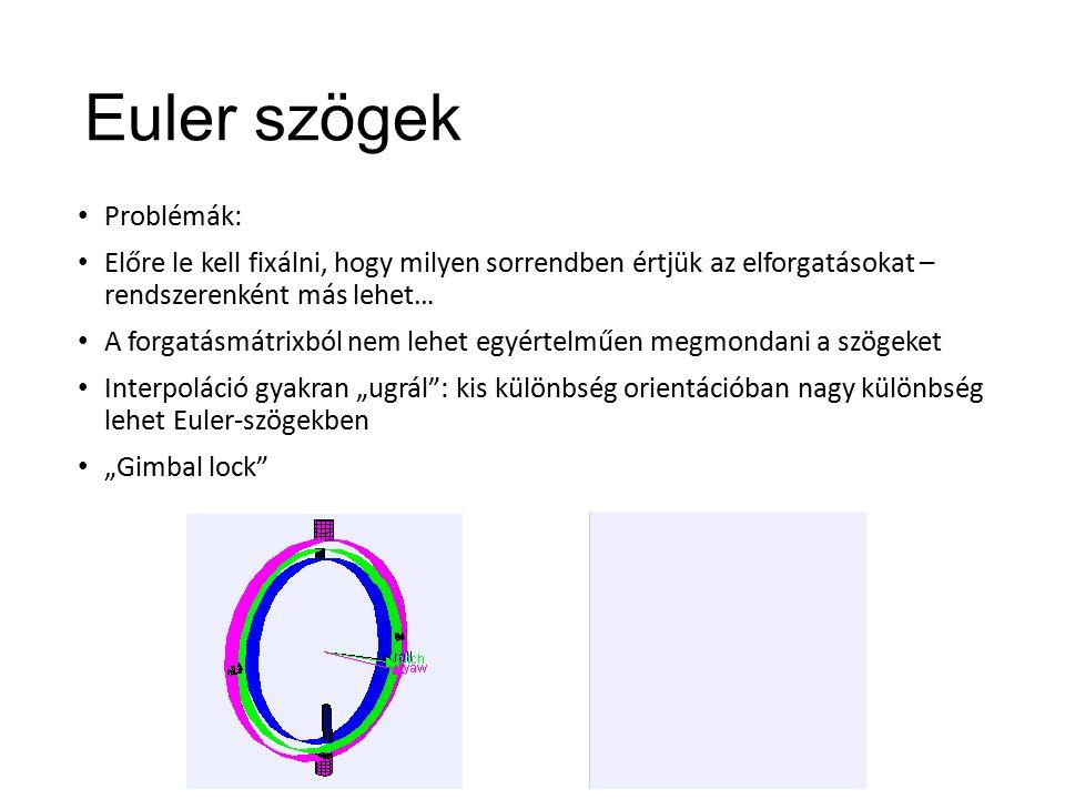 """Euler szögek Problémák: Előre le kell fixálni, hogy milyen sorrendben értjük az elforgatásokat – rendszerenként más lehet… A forgatásmátrixból nem lehet egyértelműen megmondani a szögeket Interpoláció gyakran """"ugrál : kis különbség orientációban nagy különbség lehet Euler-szögekben """"Gimbal lock"""