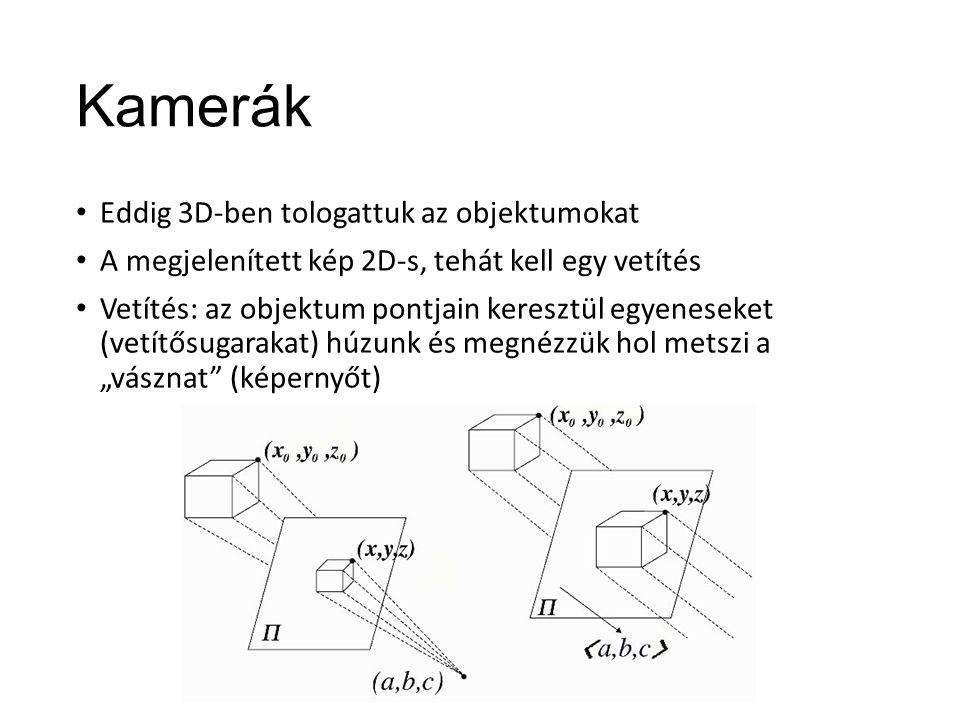"""Kamerák Eddig 3D-ben tologattuk az objektumokat A megjelenített kép 2D-s, tehát kell egy vetítés Vetítés: az objektum pontjain keresztül egyeneseket (vetítősugarakat) húzunk és megnézzük hol metszi a """"vásznat (képernyőt)"""