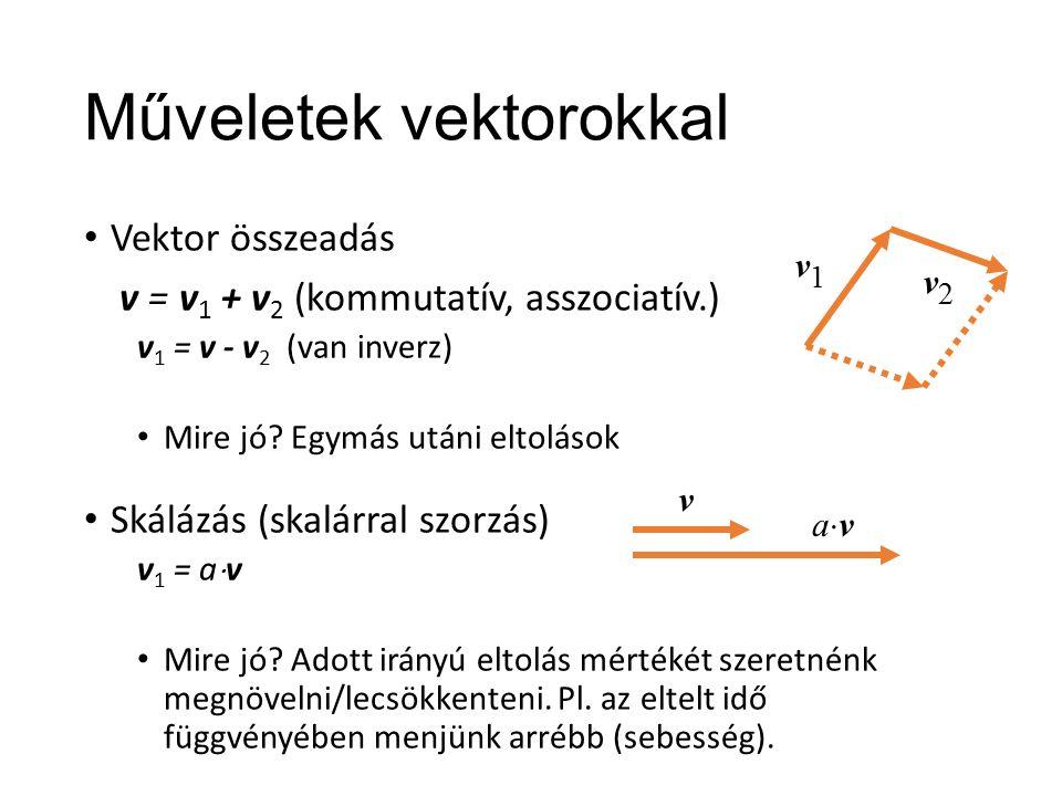 Műveletek vektorokkal Vektor összeadás v = v 1 + v 2 (kommutatív, asszociatív.) v 1 = v - v 2 (van inverz) Mire jó.