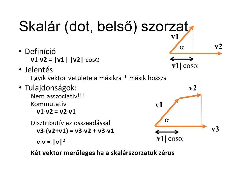 Skalár (dot, belső) szorzat Definíció v1  v2 = |v1|  |v2|  cos  Jelentés Egyik vektor vetülete a másikra * másik hossza Tulajdonságok: Nem asszociatív!!.