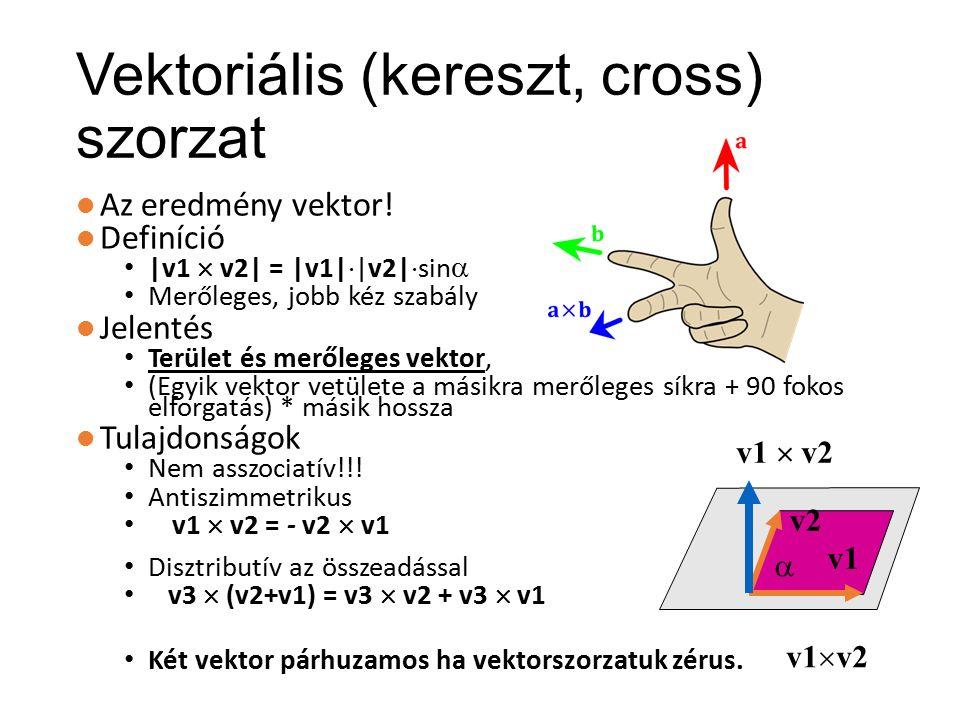 Összegzés: vetítések Merőleges és középpontos vetítés (orthographic, perspective) Középpontos vetítés matematikai leírása: projektív geometria, homogén koordináták Descartes → Homogén: hozzácsapunk egy egyest Homogén → Descartes: leosztunk az utolsó koordinátával és elhagyjuk Homogén koordinátákban 3x3-as (2D), illetve 4x4-es (3D) mátrixokkal leírható a vetítés és az eltolás is.