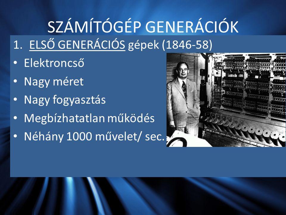 SZÁMÍTÓGÉP GENERÁCIÓK 1.ELSŐ GENERÁCIÓS gépek (1846-58) Elektroncső Nagy méret Nagy fogyasztás Megbízhatatlan működés Néhány 1000 művelet/ sec.