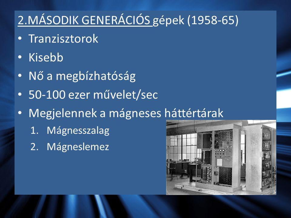 2.MÁSODIK GENERÁCIÓS gépek (1958-65) Tranzisztorok Kisebb Nő a megbízhatóság 50-100 ezer művelet/sec Megjelennek a mágneses háttértárak 1.Mágnesszalag 2.Mágneslemez