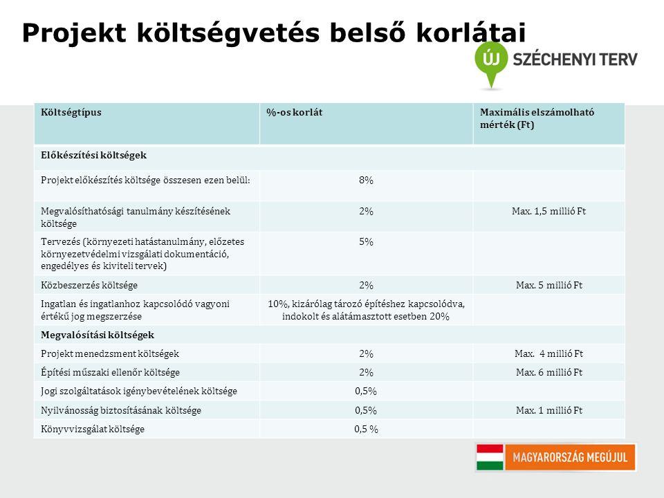 Projekt költségvetés belső korlátai Költségtípus%-os korlátMaximális elszámolható mérték (Ft) Előkészítési költségek Projekt előkészítés költsége összesen ezen belül:8% Megvalósíthatósági tanulmány készítésének költsége 2%Max.