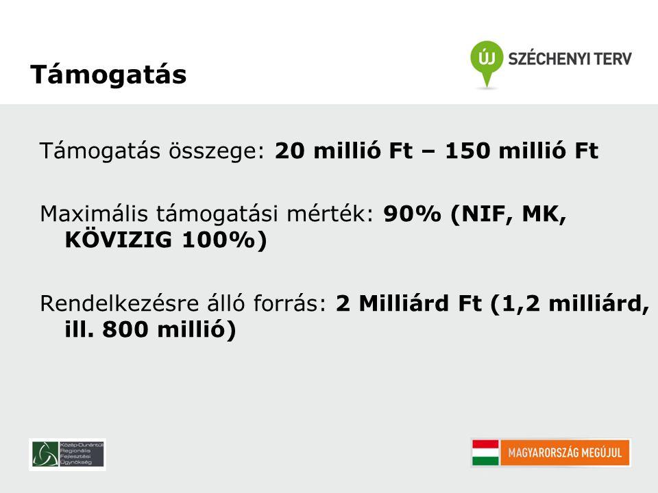 Támogatás összege: 20 millió Ft – 150 millió Ft Maximális támogatási mérték: 90% (NIF, MK, KÖVIZIG 100%) Rendelkezésre álló forrás: 2 Milliárd Ft (1,2 milliárd, ill.