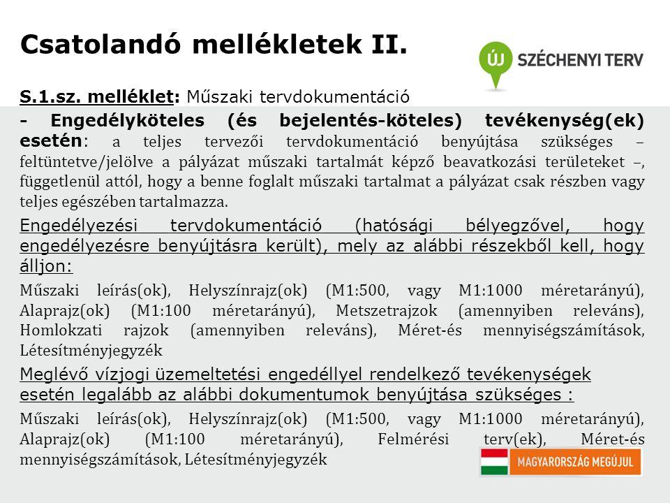 Csatolandó mellékletek II. S.1.sz.