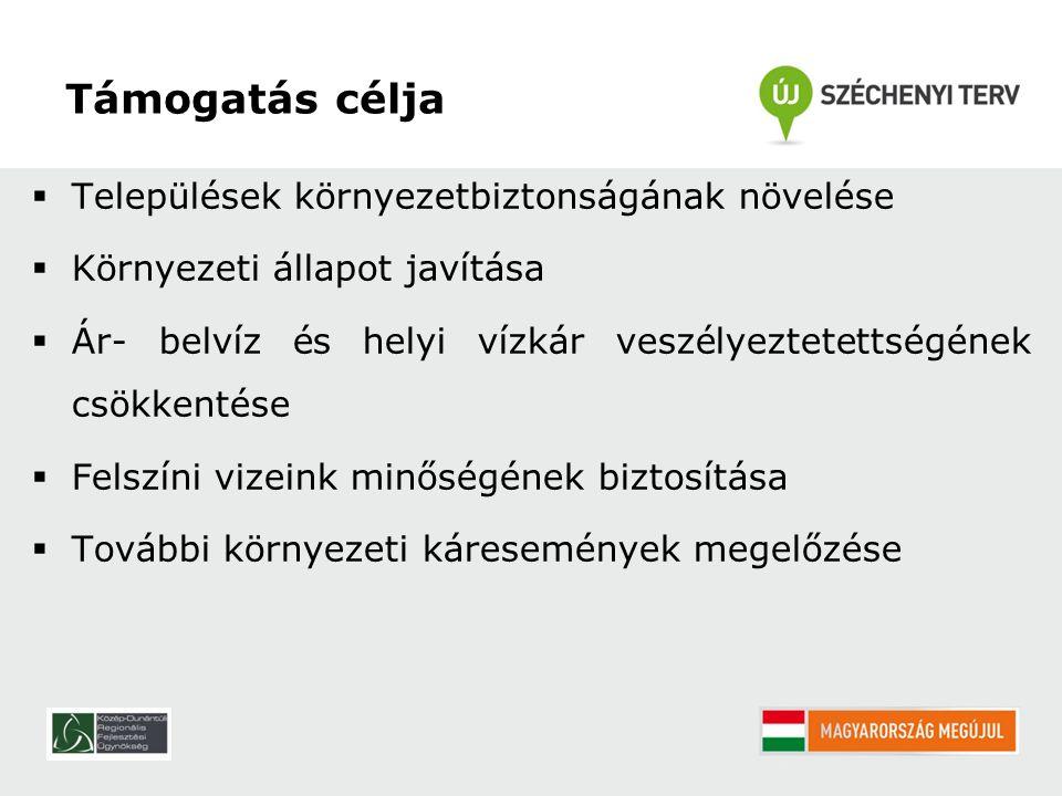 Pályázók köre Települési önkormányzatok Önkormányzati társulások Önállóan nem, konzorciumi tagként pályázhatnak: Magyar Közút NZrt.