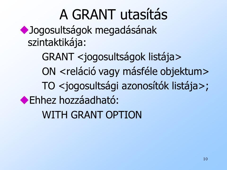 10 A GRANT utasítás uJogosultságok megadásának szintaktikája: GRANT ON TO ; uEhhez hozzáadható: WITH GRANT OPTION