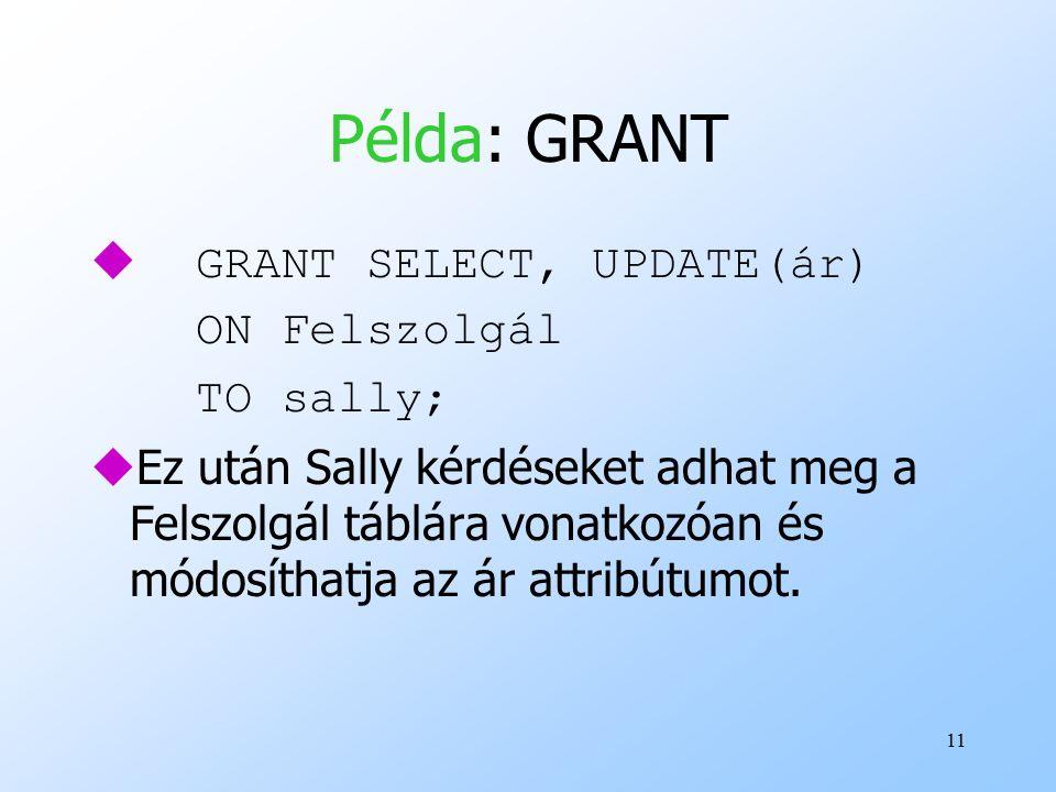 11 Példa: GRANT  GRANT SELECT, UPDATE(ár) ON Felszolgál TO sally; uEz után Sally kérdéseket adhat meg a Felszolgál táblára vonatkozóan és módosíthatja az ár attribútumot.
