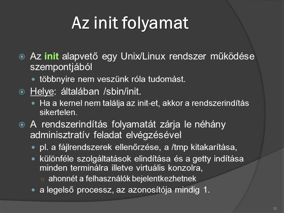 Az init folyamat  Az init alapvető egy Unix/Linux rendszer működése szempontjából többnyire nem veszünk róla tudomást.  Helye  Helye: általában /sb