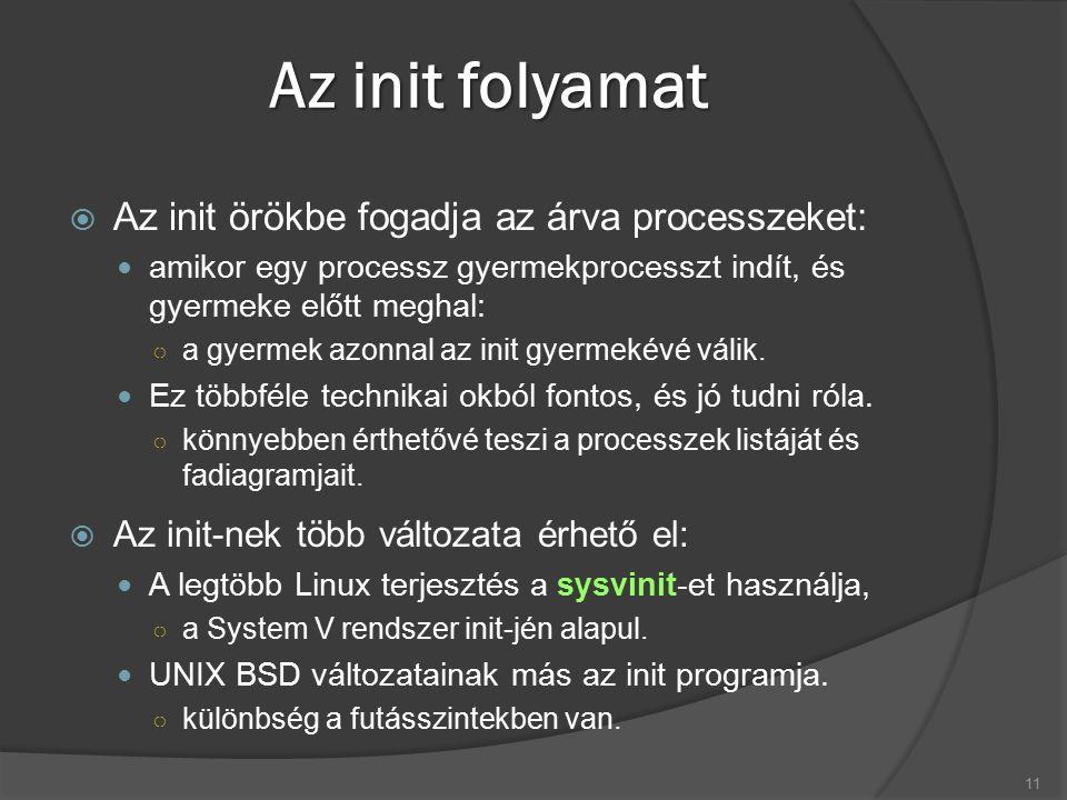 Az init folyamat  Az init örökbe fogadja az árva processzeket: amikor egy processz gyermekprocesszt indít, és gyermeke előtt meghal: ○ a gyermek azon