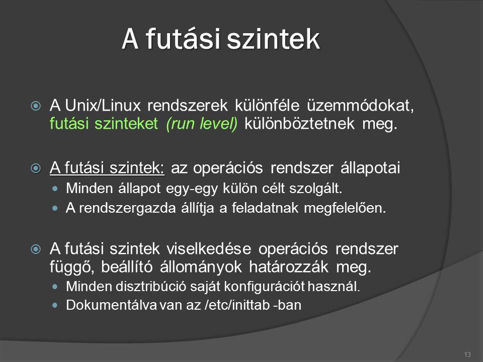 A futási szintek  A Unix/Linux rendszerek különféle üzemmódokat, futási szinteket (run level) különböztetnek meg.  A futási szintek:  A futási szin