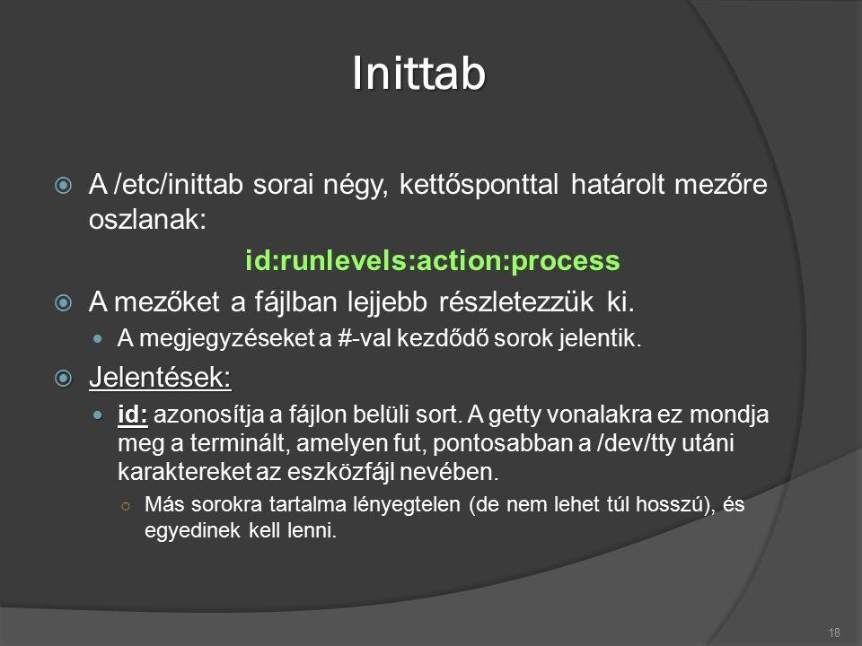 Inittab  A /etc/inittab sorai négy, kettősponttal határolt mezőre oszlanak: id:runlevels:action:process  A mezőket a fájlban lejjebb részletezzük ki