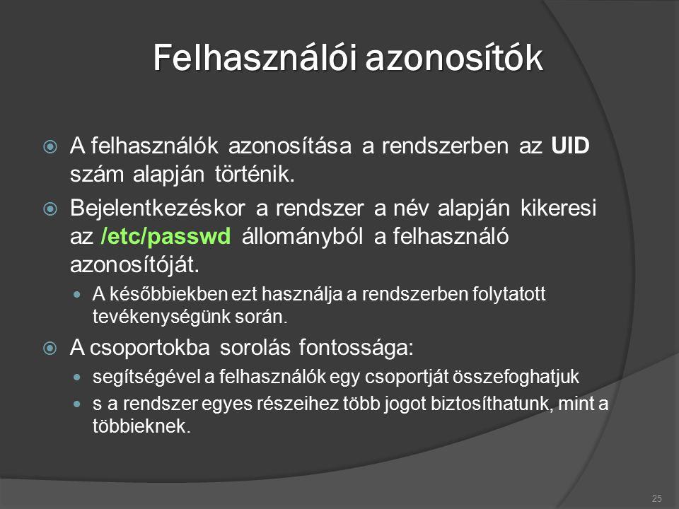 Felhasználói azonosítók  A felhasználók azonosítása a rendszerben az UID szám alapján történik.  Bejelentkezéskor a rendszer a név alapján kikeresi