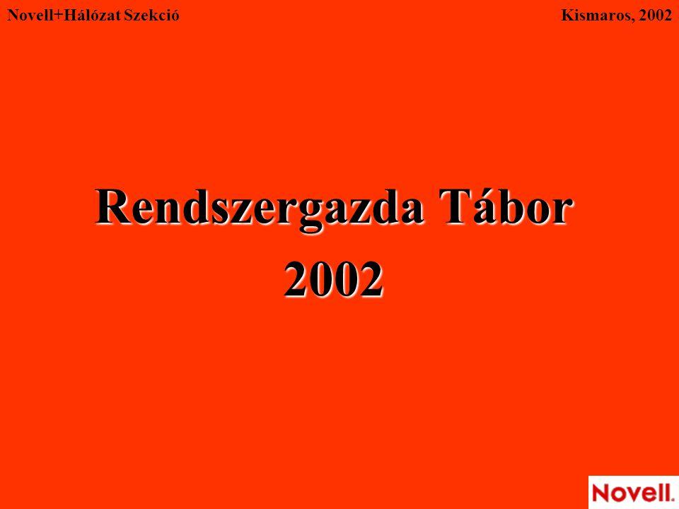 Novell+Hálózat Szekció Rendszergazda Tábor 2002 Kismaros, 2002