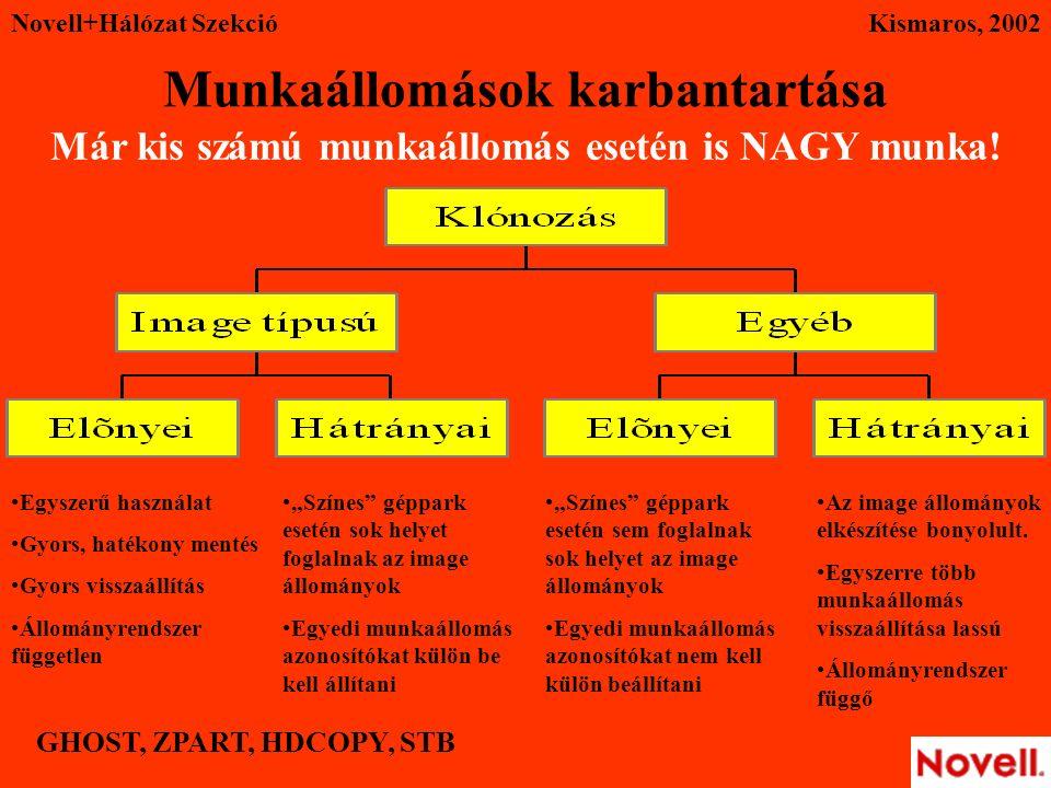 Novell+Hálózat SzekcióKismaros, 2002 Munkaállomások karbantartása Már kis számú munkaállomás esetén is NAGY munka.