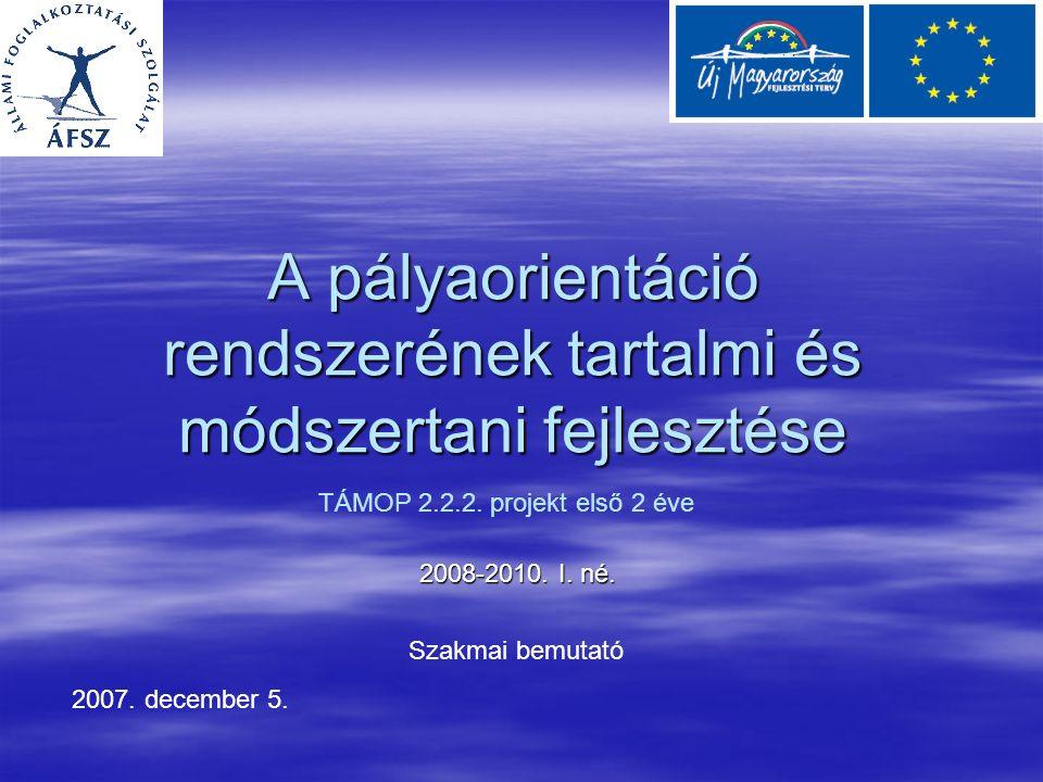 A pályaorientáció rendszerének tartalmi és módszertani fejlesztése 2008-2010.