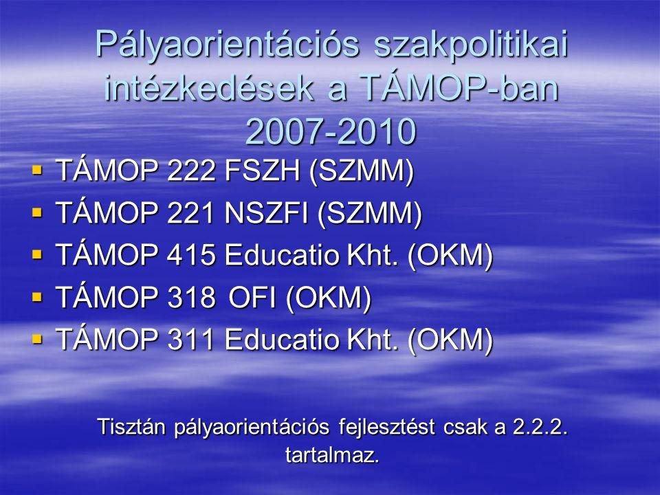 A TÁMOP 222 szerkezete  Metodikai fejlesztések megalapozása  On-line fejlesztések  Off-line pályaorientációs anyagok fejlesztése és szolgáltatások nyújtása  Szakemberek képzése, továbbképzése