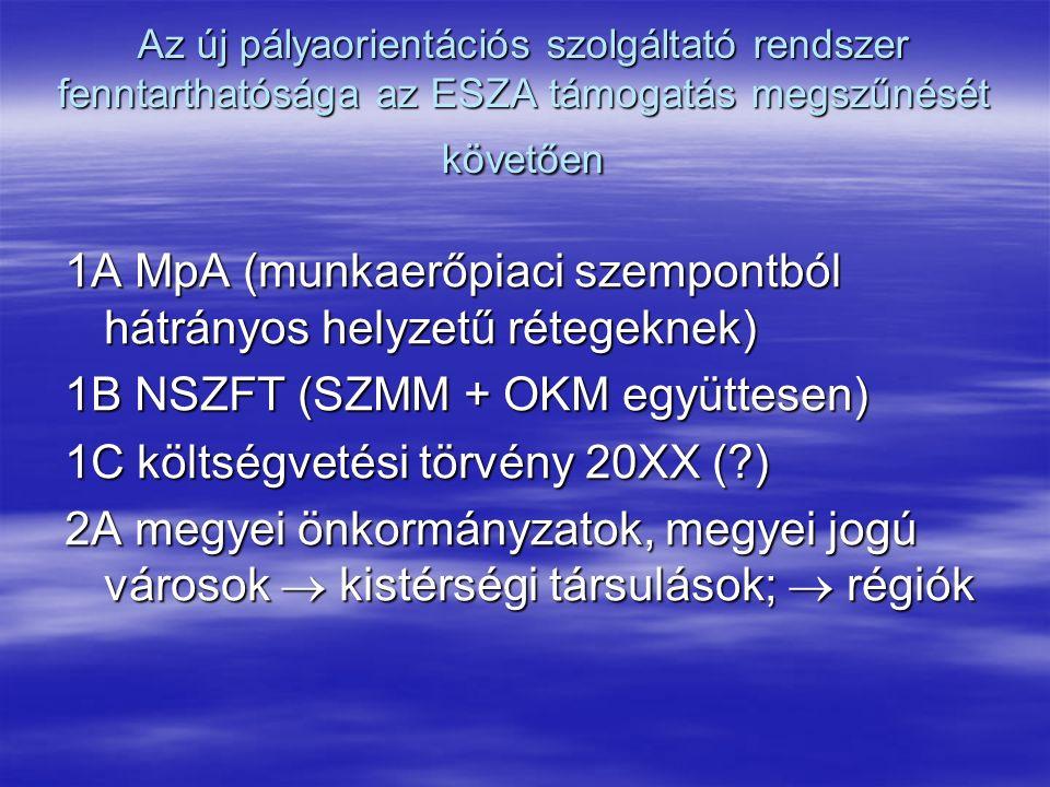 Az új pályaorientációs szolgáltató rendszer fenntarthatósága az ESZA támogatás megszűnését követően 1A MpA (munkaerőpiaci szempontból hátrányos helyzetű rétegeknek) 1B NSZFT (SZMM + OKM együttesen) 1C költségvetési törvény 20XX ( ) 2A megyei önkormányzatok, megyei jogú városok  kistérségi társulások;  régiók