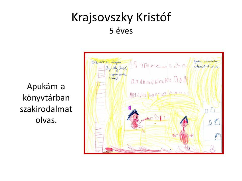 Krajsovszky Kristóf 5 éves Apukám a könyvtárban szakirodalmat olvas.