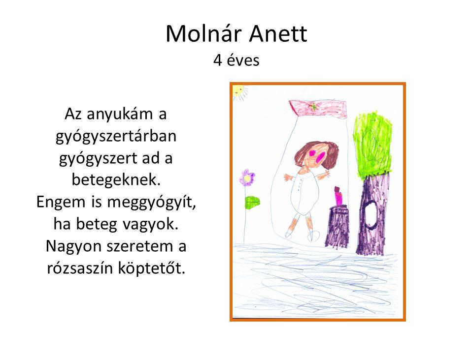 Molnár Anett 4 éves Az anyukám a gyógyszertárban gyógyszert ad a betegeknek.