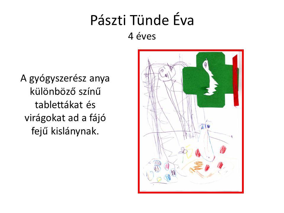 Pászti Tünde Éva 4 éves A gyógyszerész anya különböző színű tablettákat és virágokat ad a fájó fejű kislánynak.