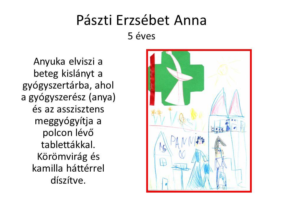 Pászti Erzsébet Anna 5 éves Anyuka elviszi a beteg kislányt a gyógyszertárba, ahol a gyógyszerész (anya) és az asszisztens meggyógyítja a polcon lévő tablettákkal.