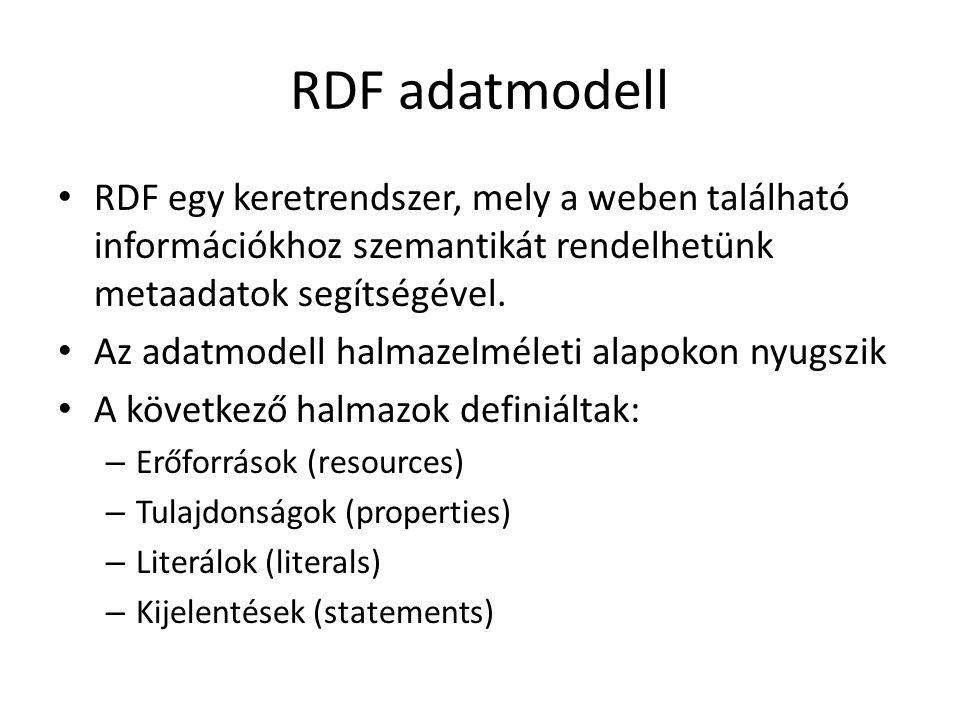 RDF adatmodell RDF egy keretrendszer, mely a weben található információkhoz szemantikát rendelhetünk metaadatok segítségével.