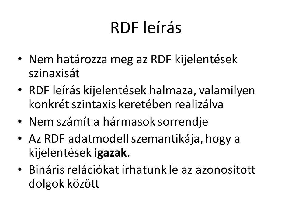 RDF leírás Nem határozza meg az RDF kijelentések szinaxisát RDF leírás kijelentések halmaza, valamilyen konkrét szintaxis keretében realizálva Nem számít a hármasok sorrendje Az RDF adatmodell szemantikája, hogy a kijelentések igazak.