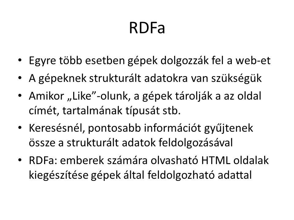 """RDFa Egyre több esetben gépek dolgozzák fel a web-et A gépeknek strukturált adatokra van szükségük Amikor """"Like -olunk, a gépek tárolják a az oldal címét, tartalmának típusát stb."""