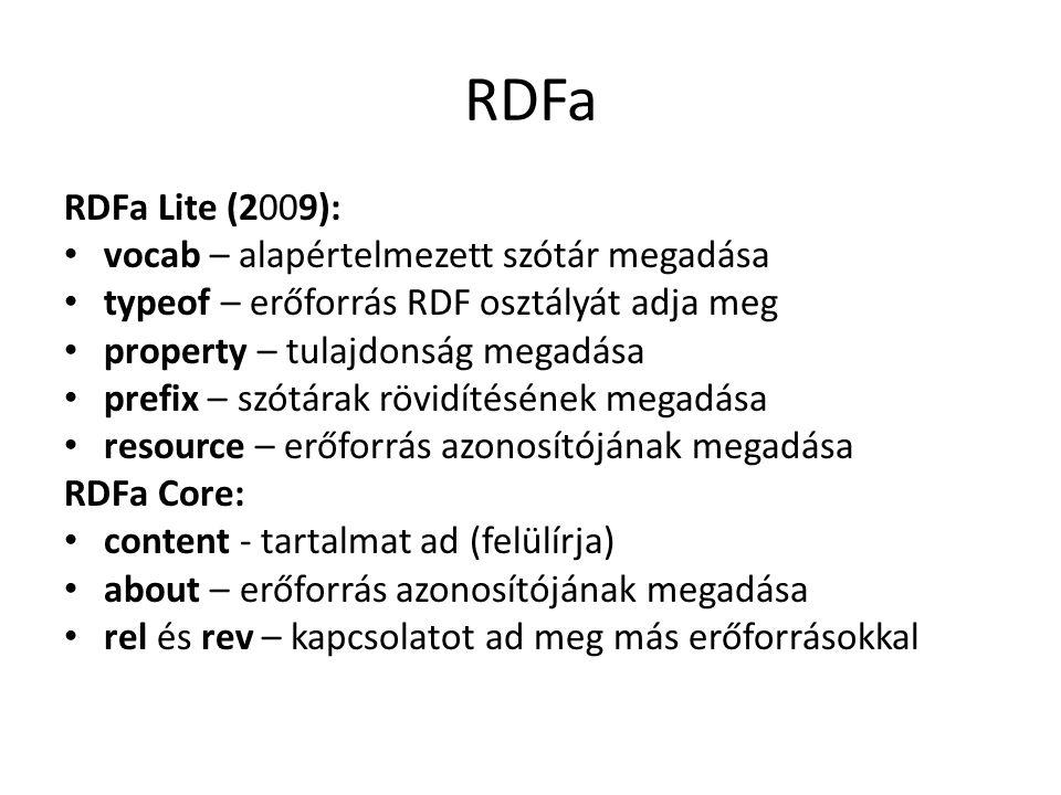 RDFa RDFa Lite (2009): vocab – alapértelmezett szótár megadása typeof – erőforrás RDF osztályát adja meg property – tulajdonság megadása prefix – szótárak rövidítésének megadása resource – erőforrás azonosítójának megadása RDFa Core: content - tartalmat ad (felülírja) about – erőforrás azonosítójának megadása rel és rev – kapcsolatot ad meg más erőforrásokkal