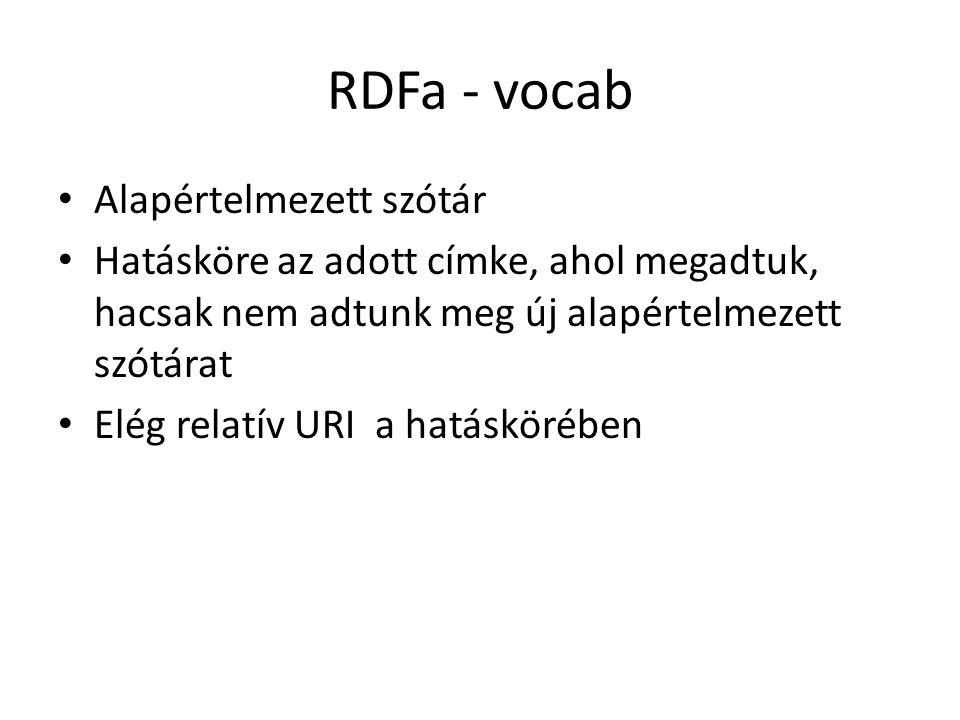 RDFa - vocab Alapértelmezett szótár Hatásköre az adott címke, ahol megadtuk, hacsak nem adtunk meg új alapértelmezett szótárat Elég relatív URI a hatáskörében