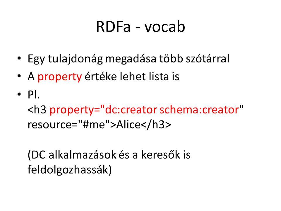 RDFa - vocab Egy tulajdonág megadása több szótárral A property értéke lehet lista is Pl.