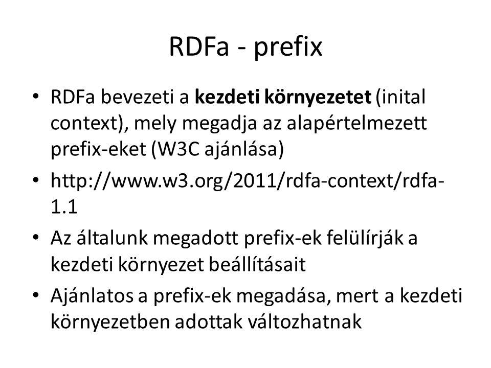 RDFa - prefix RDFa bevezeti a kezdeti környezetet (inital context), mely megadja az alapértelmezett prefix-eket (W3C ajánlása) http://www.w3.org/2011/rdfa-context/rdfa- 1.1 Az általunk megadott prefix-ek felülírják a kezdeti környezet beállításait Ajánlatos a prefix-ek megadása, mert a kezdeti környezetben adottak változhatnak