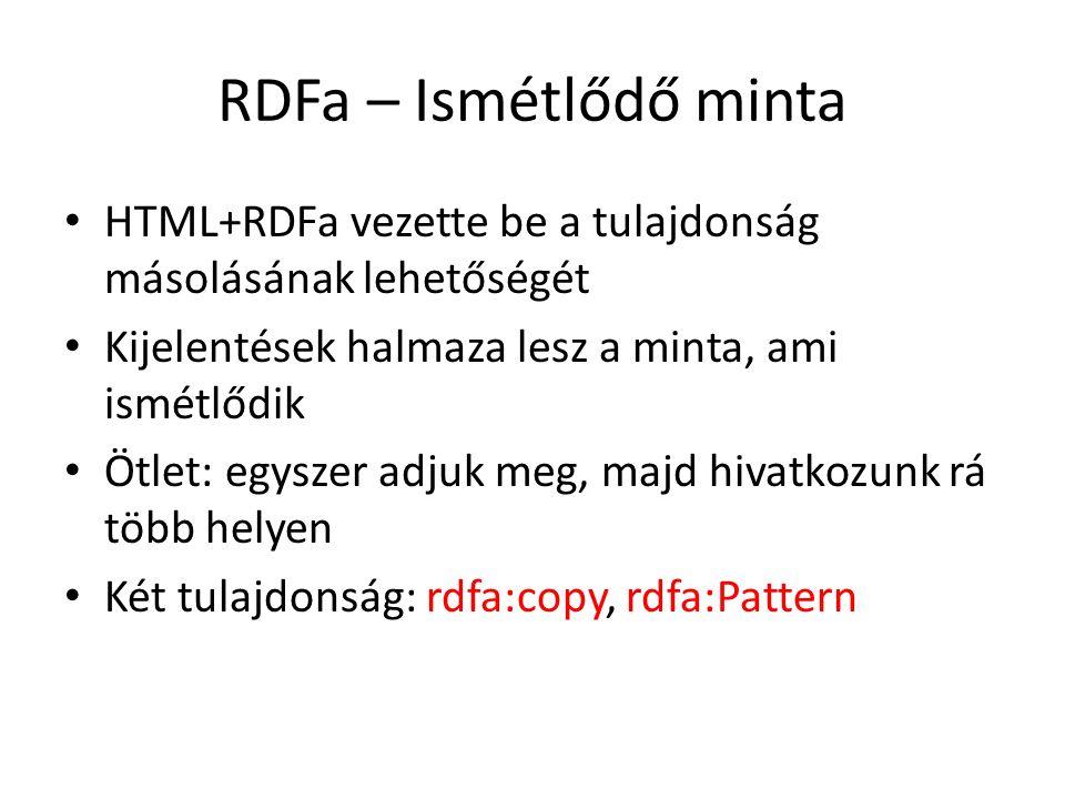 RDFa – Ismétlődő minta HTML+RDFa vezette be a tulajdonság másolásának lehetőségét Kijelentések halmaza lesz a minta, ami ismétlődik Ötlet: egyszer adjuk meg, majd hivatkozunk rá több helyen Két tulajdonság: rdfa:copy, rdfa:Pattern