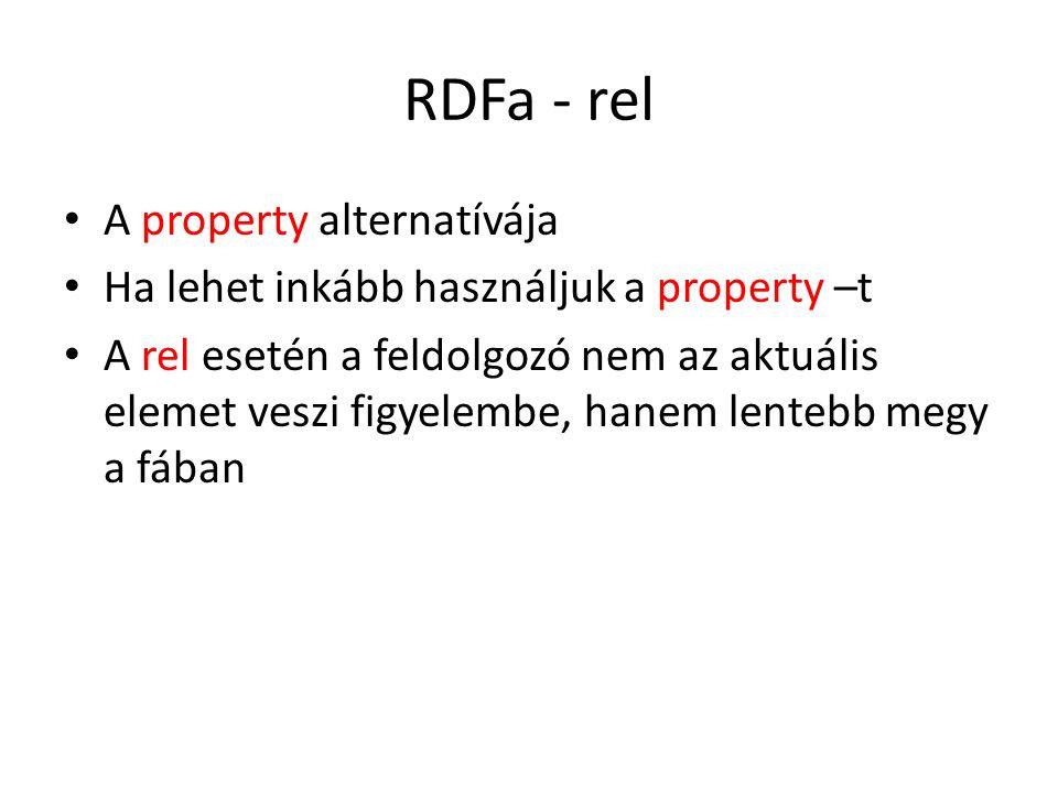 RDFa - rel A property alternatívája Ha lehet inkább használjuk a property –t A rel esetén a feldolgozó nem az aktuális elemet veszi figyelembe, hanem lentebb megy a fában