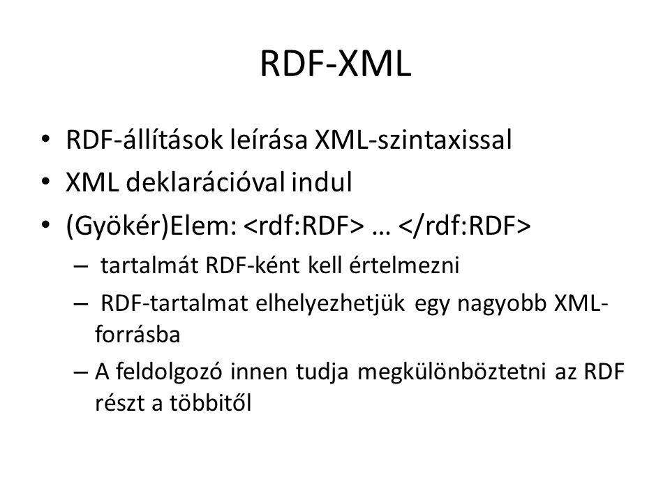 RDF-XML RDF-állítások leírása XML-szintaxissal XML deklarációval indul (Gyökér)Elem: … – tartalmát RDF-ként kell értelmezni – RDF-tartalmat elhelyezhetjük egy nagyobb XML- forrásba – A feldolgozó innen tudja megkülönböztetni az RDF részt a többitől