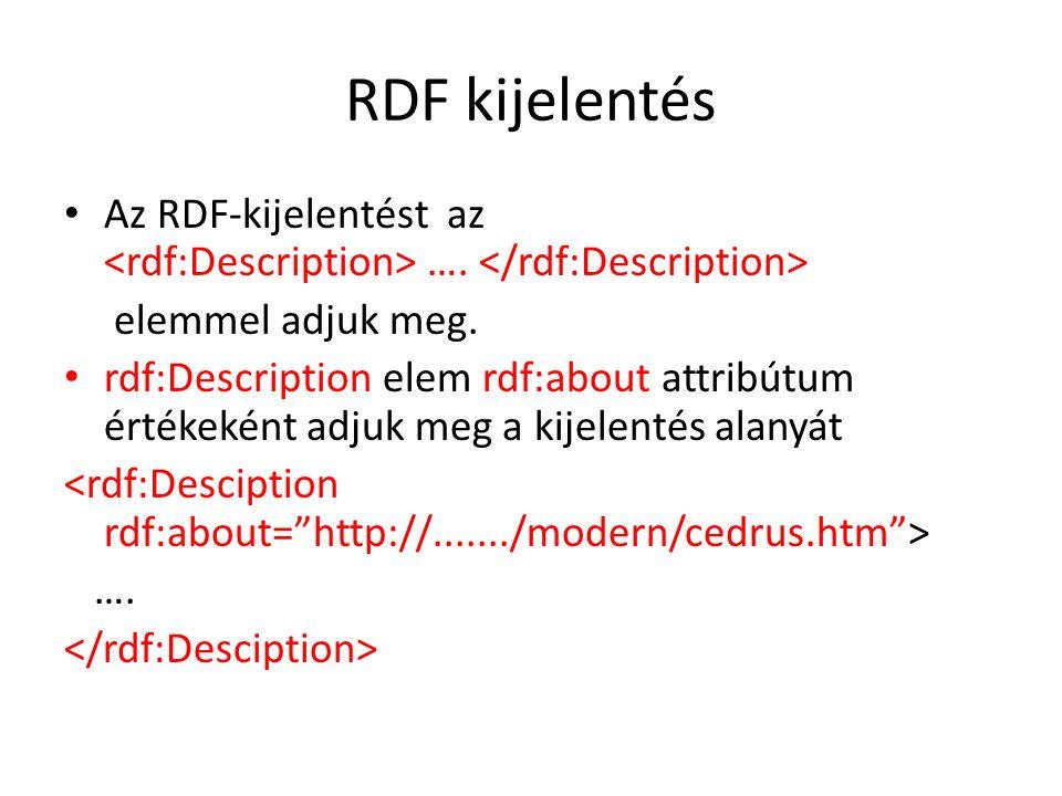RDF kijelentés Az RDF-kijelentést az …. elemmel adjuk meg.