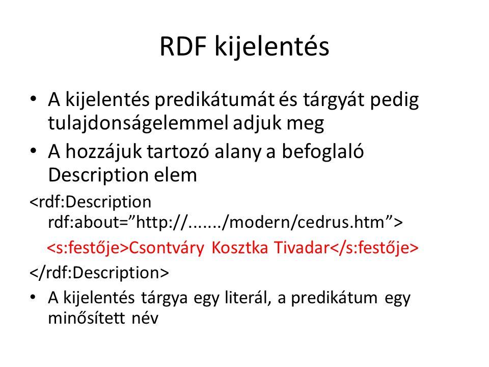 RDF kijelentés A kijelentés predikátumát és tárgyát pedig tulajdonságelemmel adjuk meg A hozzájuk tartozó alany a befoglaló Description elem Csontváry Kosztka Tivadar A kijelentés tárgya egy literál, a predikátum egy minősített név