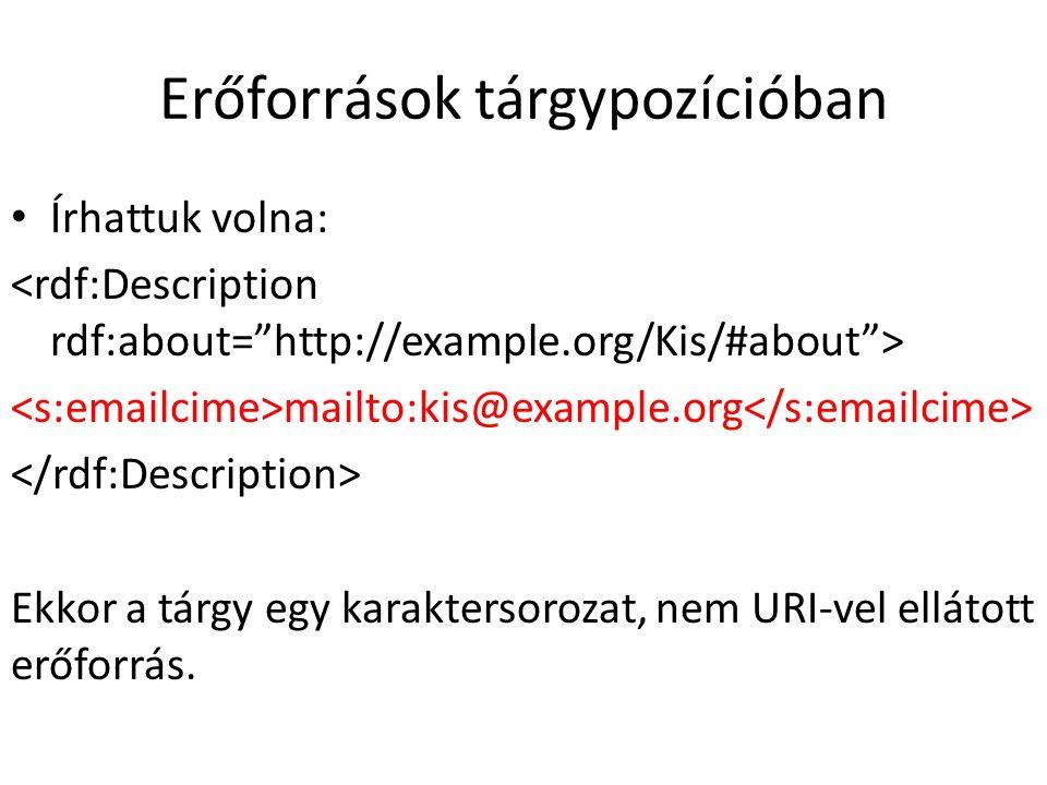 Erőforrások tárgypozícióban Írhattuk volna: mailto:kis@example.org Ekkor a tárgy egy karaktersorozat, nem URI-vel ellátott erőforrás.
