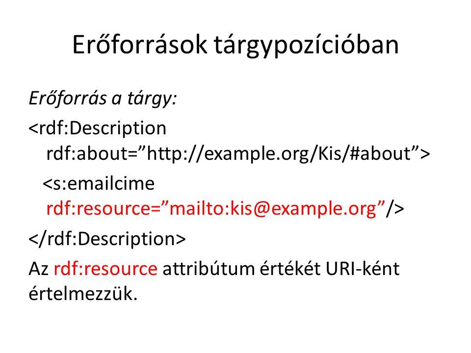 Erőforrások tárgypozícióban Erőforrás a tárgy: Az rdf:resource attribútum értékét URI-ként értelmezzük.